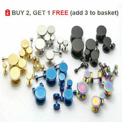 Cheater Fake Ear Plug Faker Illusion Stud Gold Silver Black Earring 3mm - 14mm • 1.70£