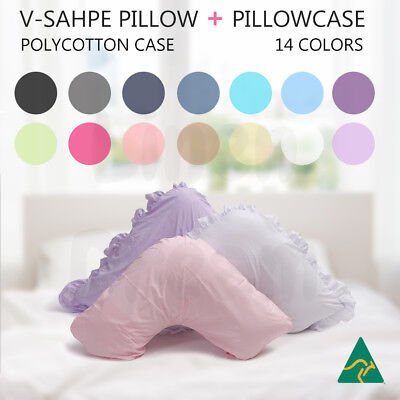 AU28.80 • Buy Aus Made V Shape / Tri / Boomerang Pillow + Pillowcase Multifuction Support