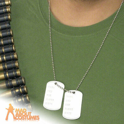 Dog Tags Mens Ladies Army Soldier Metal Necklace Fancy Dress Costume Accessory • 2.59£