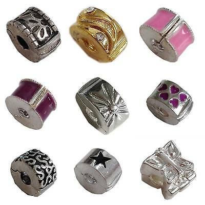 £2.45 • Buy Hinged STOPPER CLIP For European Charm Bead Bracelet Or Necklace