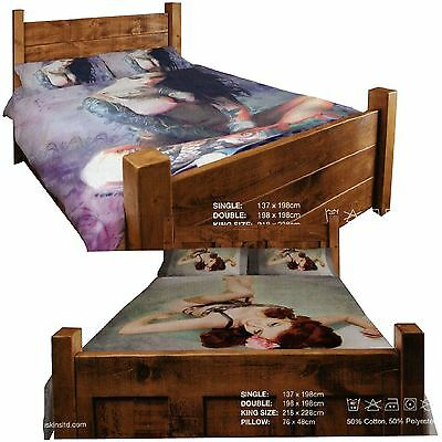 Pin Up Tattoo Girl Twin Design Reversible Duvet Cover & Pillowcase Set, Multi • 17.99£