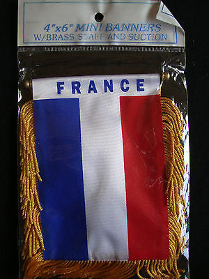 NEW France Flag Mini Banner 4  X 6  W/ Suction Cup Car Window Red White Blue • 5.33£