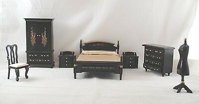 BEDROOM SET Japanese Black Lacquer Dollhouse Furniture 1/12 Scale T0121 8pc • 39.42£