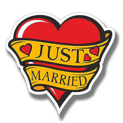 £3.99 • Buy 2 X Just Married Stickers Wedding Tattoo Style Love Car IPad Laptop Decal #4083