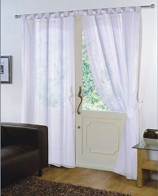 Pair - Voile Net Panels Tab Top 59'' X 72'' Curtains - White • 9.95£
