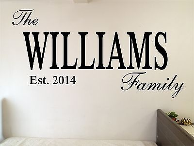 £21.82 • Buy Personalized Custom Family Name Wall Decor Decal Removable Vinyl Sticker Large