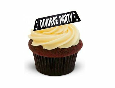 NOVELTY DIVORCE PARTY BLACK 12 STAND UP Edible Image Cake Toppers Birthday • 2.49£