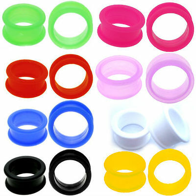 $4.99 • Buy PAIR-LARGE FLARE SOFT Silicone Ear Skins-Ear Gauges-Soft Ear Plugs-Ear Tunnels