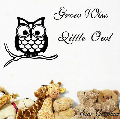 Grow Wise Little Owl Wall Art Vinyl Transfer Decal Sticker Home Decor • 9.99£