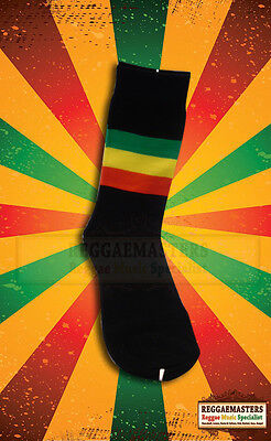 Black Socks With Red Gold And Green Stripe Roots Rasta Reggae Jamaica (24) • 4.50£