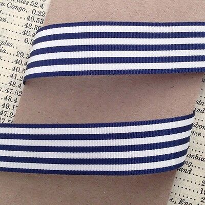 Navy And White Nautical Stripe Ribbon 16mm Per 1M Or *SAVE* With 25M Roll • 2.25£