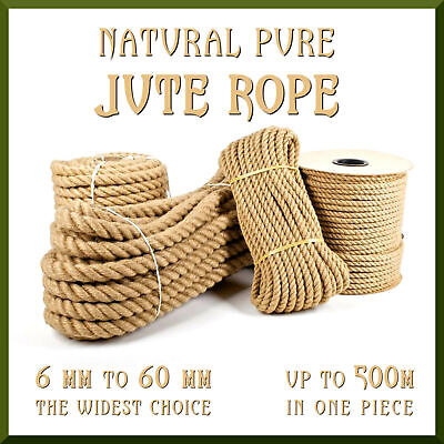 Natural Jute Rope Twisted Braided Decking Garden Boating Sash 6-60mm Up To 500m • 2.19£