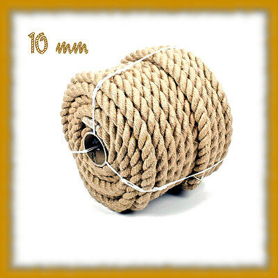 10mm Pure Jute Rope Twisted Cord Braided Garden Boating Decking Home • 13.16£