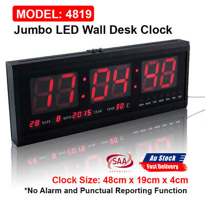 AU37.98 • Buy Digital Large Big Jumbo LED Wall Desk Clock Display With Calendar Temperature AU