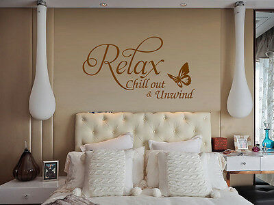 Relax Butterfly Vinyl Art Wall Sticker Quote Bedroom Wall Decal Uk    SH139 • 13.59£