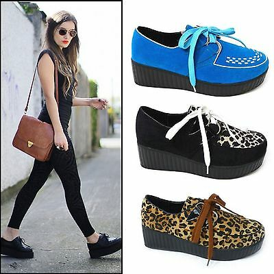 £9.99 • Buy Womens Ladies Lace Up Faux Suede Punk Goth High Platform Flat Creeper Shoes 3-8