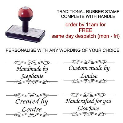 £8.75 • Buy Personalised Handmade By Rubber Stamp 11637 With Your Name And Scroll Image