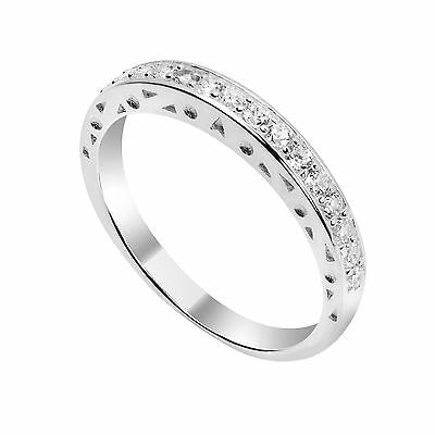 925 Sterling Silver & CZ Crystal Half Eternity Ring / Rings / Size I - W • 12.85£