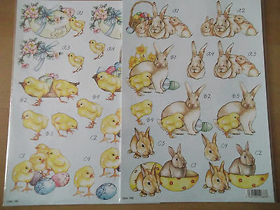 A4 Die Cut Cardmaking Decoupage Sheet Easter Bunny Chick Animals Various Designs • 1.25£