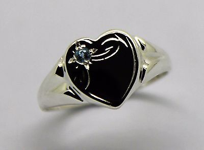 AU64.95 • Buy New Genuine Sterling Silver 925 Heart Signet Ring Choose Your Size & Gemstone