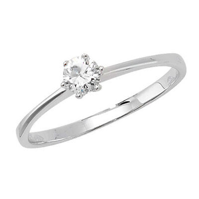 Ladies 925 Sterling Silver Cubic Zirconia Engagement Solitaire Ring Size Options • 12.95£