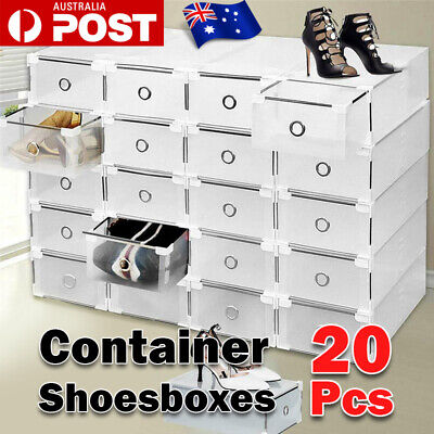 AU33.98 • Buy 20pcs Stackable Foldable Clear Shoe Storage Cases Drawer Boxes Wardrobe