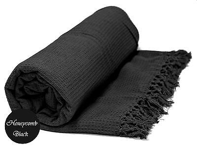 Black Honeycomb WAFFLE 100% Cotton SOFA / SETTEE / BED Throw + Tasselled Edging • 13.99£