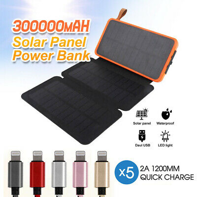 AU34.14 • Buy 300000mAh Waterproof Portable Solar Charger & 5x Certified Cable