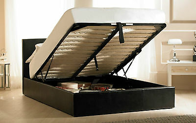 Black Leather Madrid Ottoman Bed + Mattress Option 6ft Super King Gas Lift Frame • 329£