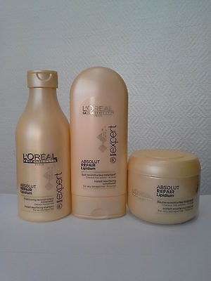 L'OREAL EXPERT ABSOLUT REPAIR Lipidium Shampoo, Conditioner And Masque Small Set • 61.75£