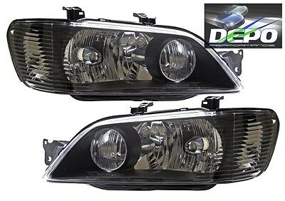 $134.95 • Buy Fit 2002-2003 Mitsubishi Lancer ES OZ Rally Black Head Lights OE Style DEPO PAIR