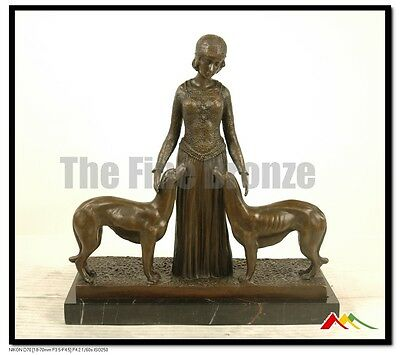 £363.59 • Buy Signed D.H.Chiparus,Bronze Art Deco Girl W/ Two Dogs Sculpture  Friends Forever