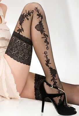 Sensuous 13 Cm Deep Lace Top Patterned Hold-ups-stockings 20 Denier New  • 5.49£