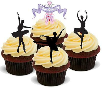 NOVELTY BALLET DANCER MIX 12 STAND UP Edible Wafer Paper Cake Toppers Silhouette • 2.75£