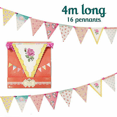 VINTAGE FLORAL WEDDING BUNTING Hen Party / Afternoon Tea Bunting Banner Garland • 6£