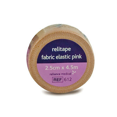 2 X Relitape Pink Fabric Elastic Strapping Tape - 2.5CM X 4.5M  • 5.25£