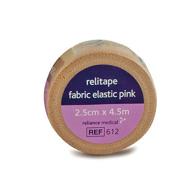 4 X Relitape Pink Fabric Elastic Strapping Tape - 2.5CM X 4.5M  • 7.95£