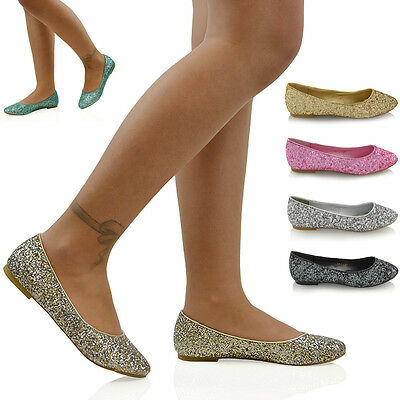 £12.99 • Buy Womens Slip On Pumps Ladies Glitter Dressy Dolly Shoes Bridal Ballerina Shoes