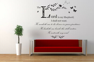 Psalm 23 Christian Bible Quote NIV Vinyl Wall Art Sticker Decal, Church, School • 20.97£