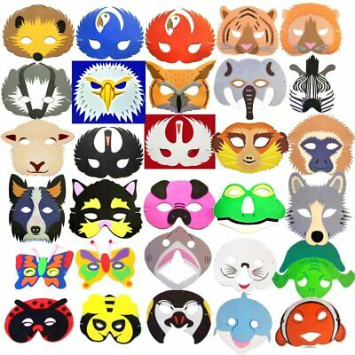 Foam Party Masks - Animals Birds Monsters & More! Kids Fancy Dress Halloween • 2.99£