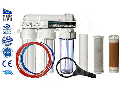 NEW 4 Stage RO Reverse Osmosis System With DI Resin Chamber 100GPD Deionization • 77.90£
