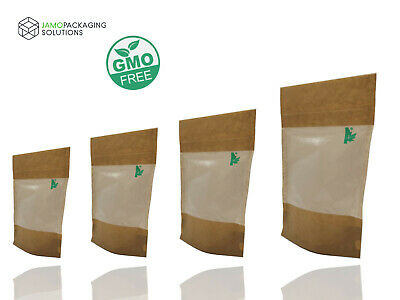Fully Biodegradable TRANSLUCENT WINDOW STAND UP SEALABLE POUCH GRIP HEAT SEAL • 6.59£