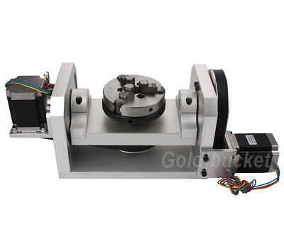 $ CDN668.41 • Buy CNC Router Rotary Table Rotational Axis 4th 5th Axis A C Axis 100MM Chuck 3 Jaw