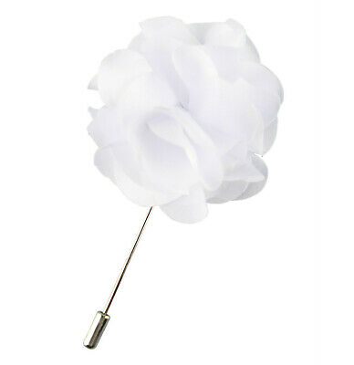 White Carnation Lapel Flower Blazer Pin Wedding Prom Corsage Boutonniere Gift • 4.14£