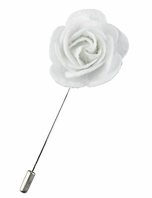 Mens White Felt Rose Lapel Flower Blazer Pin Prom Corsage  • 4.14£