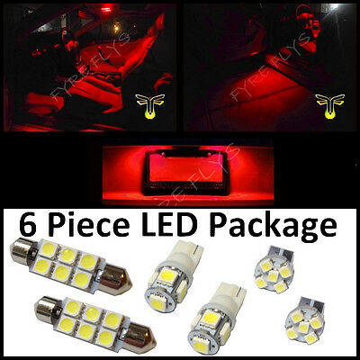 $9.88 • Buy 6 Red LED Interior Lights Package T10 & 42mm Map Dome + License Plate Lamp G2R