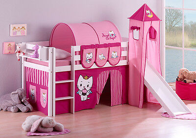 CHILDRENS CABIN BED BUNK BED MIDSLEEPER JELLE 190x90 + TOWER + SLIDE BY LILOKIDS • 289£