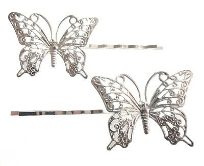 $ CDN18.82 • Buy Butterfly Bobby Pins Hair Clip Accessories Filigree Metal Silver Brass Lot Of 8