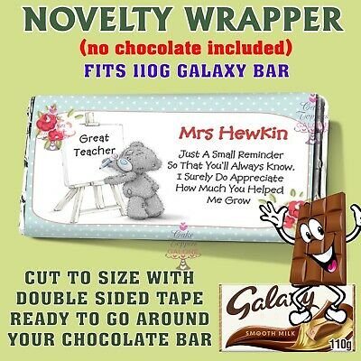 £1.49 • Buy Personalised Teacher Chocolate Bar Wrapper End Of Term, Thank You, Fits Galaxy