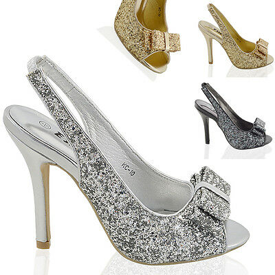 £14.99 • Buy Womens Stiletto High Heel Sparkly Ladies Slingback Bridal Prom Sandals Shoes